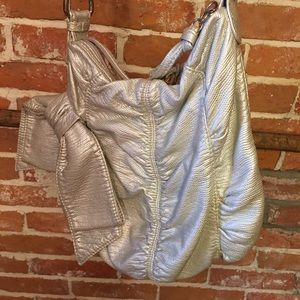 Silver embossed bag long strap by Marc Echo Red